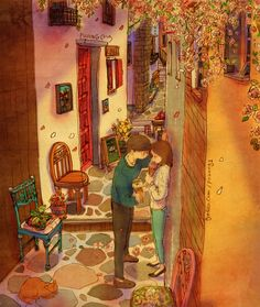 Stopping In An Alley To Tell Her You Love Her. Love Is In The Small Things: New Illustrations By Korean Artist Puuung (20+ Pics)