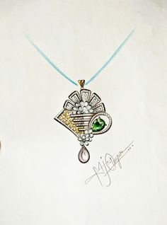 Gold Pendent, Diamond Pendant, Pendant Design, Pendant Set, Jewelry Design Drawing, Jewelry Illustration, Jewellery Sketches, Stone Jewelry, Gouache