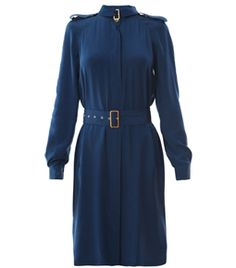 Jafartha Dress by Diane Von Furstenberg. Blue dress with hidden buttoned centre-front fastening and long sleeves with buttoned cuffs. The silk dress has side pockets and a small high-neck collar with a small belt and buckle detail. The slim fit dress has shoulder epaulet detail and a matching waist belt. #Matchesfashion