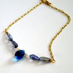 Gemstone Statement Necklace  Bridal Blue by PETALTOMETALJEWELS