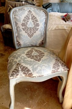 Josephine Vanity Chair Blue Damask - Petite Vanity Chair Damask Chair Curved Back Chair | Soft Surroundings | furniture | Pinterest | Soft surroundings ... & Josephine Vanity Chair Blue Damask - Petite Vanity Chair Damask ...