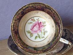 Antique tasse à thé rose rose Paragon et soucoupe, tasse de thé noir, tasse de…