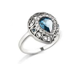 LovEnter 18K White Gold Plated Vintage Luxury Blue Crystal Ring
