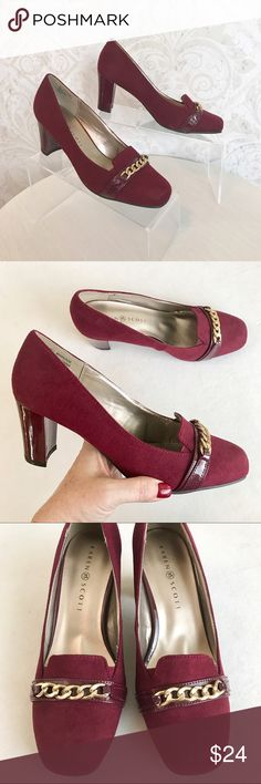 "Karen Scott merlot faux suede mid-heel pump sz 8.5 I love this color! Merlot faux suede career pump with patent accents. Classic loafer silhouette. Gold tone chain across vamp. Covered, chunky 3"" heel. Flocked black outsole. NWOT; never work. Karen Scott Shoes Heels"