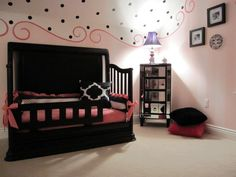 Cute girls room. I think this would be sweet even with a regular ceiling and just as a top wall border.