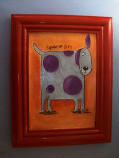 Square Dog from turntableart etsy shop