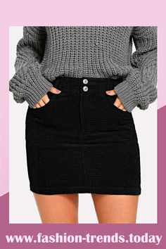 To find out about the Button Front Bodycon Skirt at SHEIN, part of our latest Skirts ready to shop online today! Short Skirts, Mini Skirts, Women's Skirts, Casual Skirts, Corduroy Shorts, Look Girl, Bodycon Fashion, Fashion Skirts, Bodycon Style
