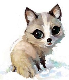 大眼睛小狐狸。cute chibi, fox, illustration, art, design, inspiration, eyes,