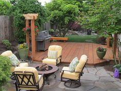 Ground Level Deck, Bbq, Fire Pit, Flagstone  Deck Design  Stock & Hill Landscapes, Inc  Lake Stevens, WA