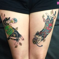 Tattoos By Horitomo: Cute And Creative Monmon Cats Japanese Tattoo Women, Japanese Tattoo Designs, Japanese Sleeve Tattoos, Japanese Tattoo Artist, Tattoo Chat, Tattoo Arm, Raijin Tattoo, Body Art Tattoos, Cool Tattoos