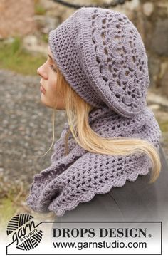 """Victoriana - Set consists of: Crochet DROPS beret and neck warmer in """"Karisma"""". - Free pattern by DROPS Design Crochet Adult Hat, Bonnet Crochet, Crochet Cap, Crochet Beanie, Crochet Scarves, Crochet Clothes, Free Crochet, Knit Cowl, Hand Crochet"""