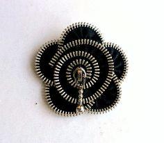 zipper broochblack zipper handmade flower  Zipper by ZipperDesign, $19.00