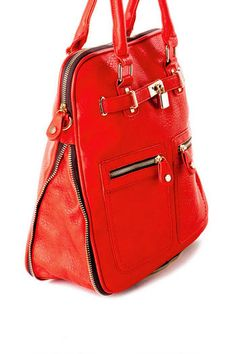 Francesca's Collection - Soho Lock Expandable Tote in Red #ShopSouthlands