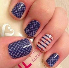 Summer means boat season! You can sport a nautical theme on your fingers and toes with Jamberry nail wraps. Featured in this manicure is navy quatrefoil and nautical!  http://jamminwithkyle.jamberrynails.net