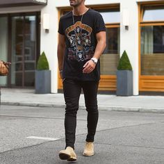 Graph tshirt, black jeans and #chelseaboot ✨ by @kosta_williams [ www.RoyalFashionist.com ]
