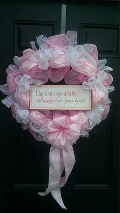 Pink New Baby Wreath Deco Mesh by BetsyLuWreaths on Etsy, $45.00
