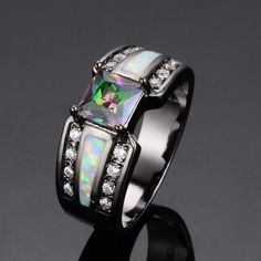 ~ Beautiful ~ SZ 6 7 8 9 ~ 10KT Black Gold Fire Opal & Rainbow Topaz Ring ~