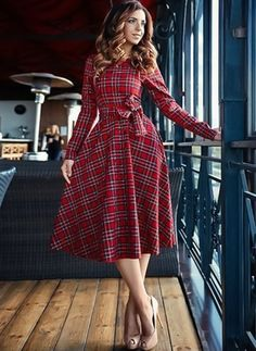 General Red Work Dresses Sashes Red Round Neckline Spring Long Sleeve Midi Summer Wrap Cotton A-line Dress Fall S Winter M Plaid L XL Dress Robes Vintage, Vintage Style Dresses, Elegant Dresses, Cute Dresses, Casual Dresses, Fashion Dresses, Ball Dresses, Sexy Dresses, The Dress