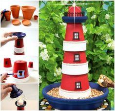 Claypot Lighthouses diy craft crafts diy crafts diy projects lighthouses claypot