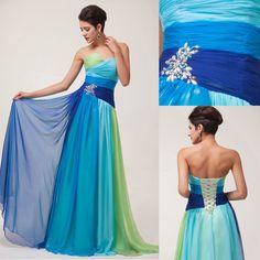 Ombre Lang Abendkleid Brautjungfer Kleid Ballkleider Cocktailkleid Party Dress 1