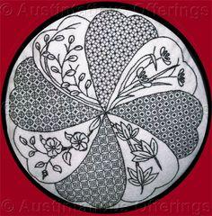 blackwork embroidery | Rare Williams Floral Pillow Blackwork Embroidery Kit Robertson