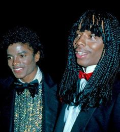 Michael Jackson and Rick James at the American Music Awards in Rick James, Music Icon, Soul Music, Music Is Life, Afro, Jazz, Blues, Soul Singers, Jackson Family