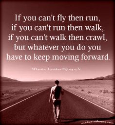 If you cant fly then run, if you cant run then walk, if you cant walk then crawl, but whatever you do you have to keep moving forward. ~Martin Luther King Jr.