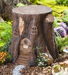 Fairy Garden Tree Stump Stool is perfect for fairies and full-grown people alike! Crafted to resemble a real tree stump, it makes the perfect fairy garden accent, but it can be used as a table or stool for humans, too :) - Gardening Life Today Fairy Tree Houses, Fairy Garden Houses, Gnome Garden, Garden Trees, Garden Path, Fairies Garden, Flowers Garden, Fairy Doors On Trees, Flowers Nature