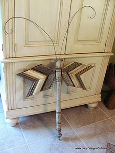 Dragonfly made from table legs and molding scraps.