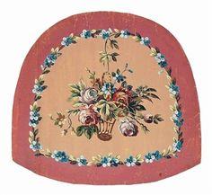2 obras: dibujos animados de Aubusson para cojines de asiento incluyendo peonías en una cesta (ilustrado); y una lluvia de flores de primavera Por la escuela francesa, Siglo 19, Siglo 19