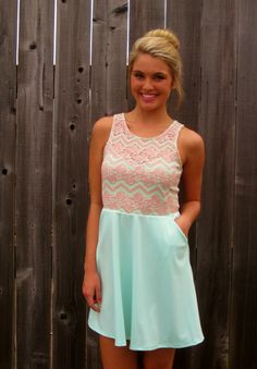 MINT AND BLUSH LACE SWEETHEART DRESS WITH POCKETS!