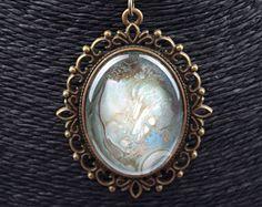 Family Decor Goa Farmhouse Pendant Necklace Cabochon Glass Vintage Bronze Chain Necklace Jewelry Handmade