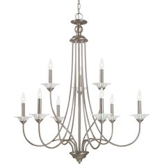 Lemont 9-light Antique Brushed Nickel Candelabra Chandelier with Clear Glass Bobeches | Overstock.com Shopping - Great Deals on Sea Gull Lig...