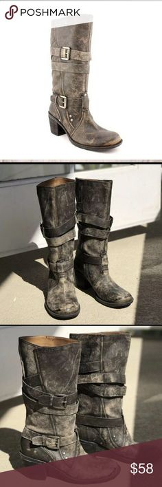 """Nine West Dimaris Vintage Boots Nine West Dimaris Vintage Boots. Size 7. Distressed black. Mid-calf. Width: Medium. Material: Upper material is leather, man made soles. Heel height: 2.75"""". Shaft height: 11"""". Circumference: 15"""". No damage or defects. Will ship in a box. Comes from a smoke free home. Final price unless bundled. No trades, no holds, thank you. Nine West Shoes Heeled Boots"""