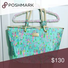 """Lilly Pulitzer This gorgeous bad has been sitting in my closet for way too long without use; I love it so much, but I haven't used it in a year!!!  Brand: Lilly Pulitzer  Print: Pop Color: Multi Style: Shoreline Tote Size: OS Materials: 100% Cotton Condition: Very Excellent Preowned; (""""Like New"""", but I may have used it once or twice); the plastic on the Gold Lilly Pulitzer Brand Name is still in place, so there are zero scratches on it.  Smoke-free home Lilly Pulitzer Bags Totes"""