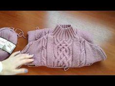 Метод непрерывного вязания спицами. Свитер с аранами. Часть 4. Кnit sweater. - YouTube