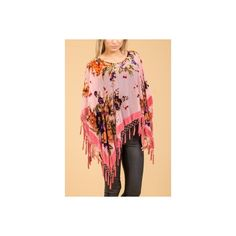 Jayley Pink Silk Devore Poncho found on Polyvore featuring women's fashion, outerwear, pink poncho, red poncho and silk poncho