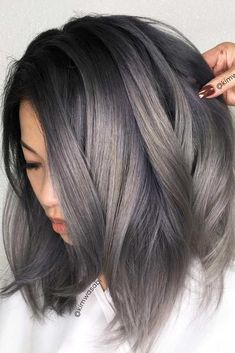 Grey hair hairstyles in 2019 Ash brown hair, Charcoal hair ash gray hair color 2019 - Gray Things Dark Ash Brown Hair, Dark Hair, Ash Grey Hair, Medium Ash Brown Hair, Ash Brown Ombre, Black And Silver Hair, Ash Blonde Short Hair, Grey Ombre, Brown Blonde