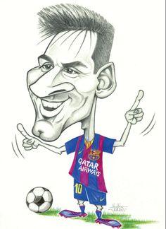 Caricature: Messi [via Dark Art Drawings, Art Drawings For Kids, Pencil Art Drawings, Art Drawings Sketches, Disney Drawings, Drawing Cartoon Faces, Cartoon Sketches, Messi Drawing, Desenho Scooby Doo