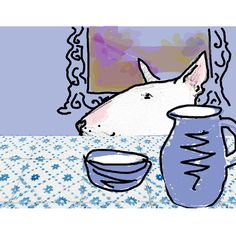 English Bull Terrier Digital Collage Dufy the by TheTerriersClub