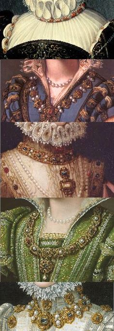 Carcanet or carcan is a jeweled collar or necklace, from the old French, carcan, meaning collar. Carcanets were typically quite elaborate and formal, and worn closely fitted. Renaissance Mode, Costume Renaissance, Elizabethan Costume, Elizabethan Fashion, Tudor Fashion, Elizabethan Era, Renaissance Jewelry, Fashion In, Medieval Jewelry