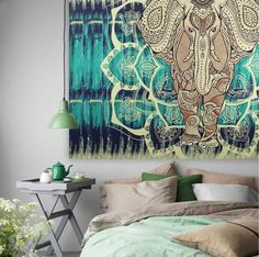 ELEPHANT MANDALA TAPESTRY WALL ART 59X51 In