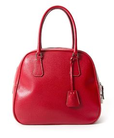 fcced9f49105f8 Labellov Vintage Prada Red Top Handle Bowling Bag ○ Buy and Sell Authentic  Luxury