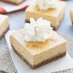 These Pumpkin Greek Yogurt Cheesecake Bars are light, creamy, and have a brown sugar and pecan crust!