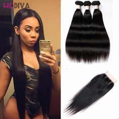 Brazilian Virgin Hair With Closure Brazilian Virgin Hair 4 Bundles Human Hair With Closure Brazilian Straight Hair With Closure