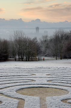 The Canterbury Labyrinth, University of Kent. Frosty Dawn, Canterbury Cathedral, Kent, England