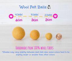 Size Chart for Wool Felt Balls. 100% Wool by CraftyWoolFelt