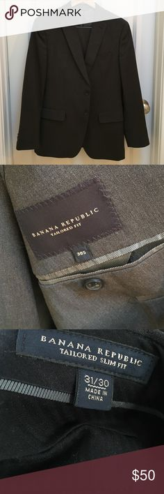"""Banana Republic Gray Suit Dark Gray Banana Republic suit - jacket and pants. Jacket = tailored fit. Size 38S. Pants = Tailored slim fit. Pant size 31/30. Length has been shortened to a 28"""" inseam. No altering to jacket. Single breasted jacket. Two buttons. Interior pockets.  100% wool. Banana Republic Suits & Blazers Suits"""