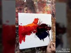 Textured acrylic abstract painting demo - YouTube