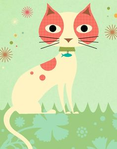 Kitty Kitty Art Print by pictorialboom on Etsy Fancy Cats, Cute Animal Pictures, Cat Drawing, Whimsical Art, Cool Cats, Cat Art, Kitty Kitty, Cute Animals, Illustration Art